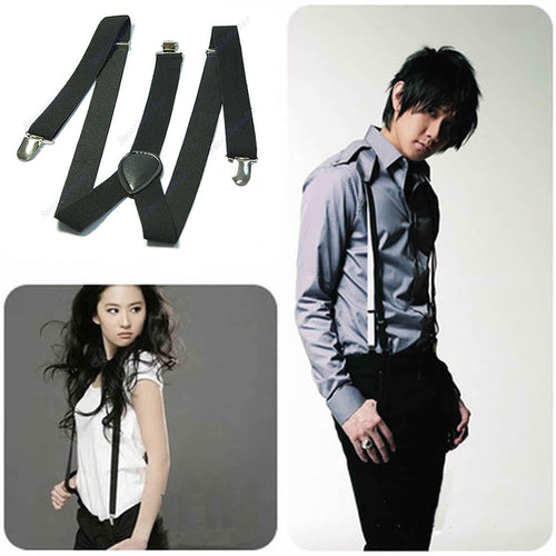Free Shipping Unisex Clip-on Braces Elastic Y-back Suspenders 7 color for you choice