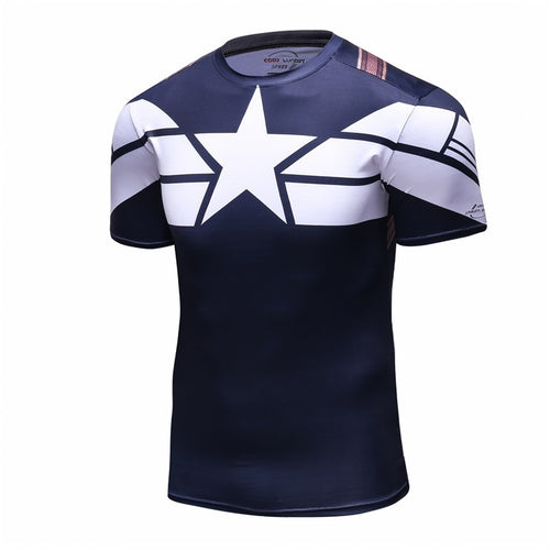 New 2016 Cody Lundin Men Civil War Tee Compression T Shirts Marvel Avengers Costume Comics Superhero Tee Tops for Male