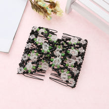 1pc Vintage Flower Bead Stretchy Hair Combs Double Magic Slide Metal Comb Clip Hairpins for Women Hair Accessories Gift