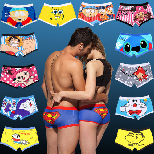 2 Pairs Cartoon Printed Underwear Men Boxer Shorts Underpants Sexy Mens Cotton boxers Couple Panties Women Panties Underwear