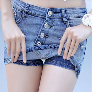 2016 Summer Women Denim Skirt Hole Lip Mini Skirts Jeans Pantskirt Culotte Short Blue Culottes S M L XL XXL