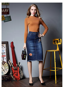 2017 Embroidery Denim Skirts Sexy Slim Office Skirt Stretch Pencil Skirt Midi Women Plus Size Ripped Jeans Skirt Faldas Mujer