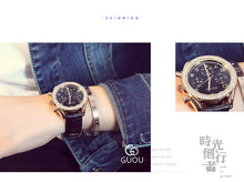 2017 New GUOU Luxury Brand Ladies Watch Fashion Women Leather Strap Bracelet Rhinestone Crystal Diamond Quartz-watch Clock
