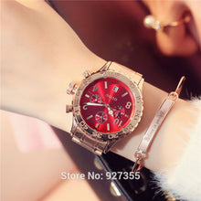 2017 New GUOU Watch Fashion Women Calendar Rose Gold Quartz Watch Six-pin Retro Big Dial Female Multifunction Waterproof Clocks