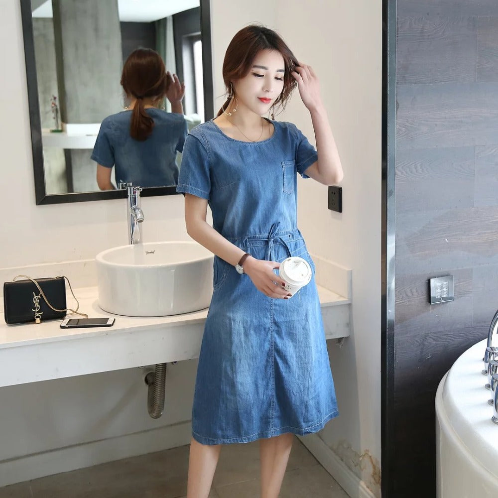 2017 Summer New Style Plus Size Women's Clothing, Ladies Lace Up Casual Short Sleeves Denim Dress, Vintage Elegant Jeans Dresses