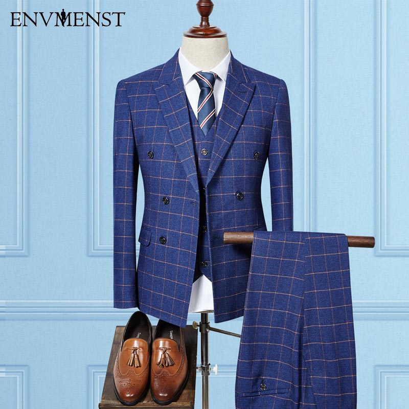 2017 Tailored Made Double Breasted Man Suits Business Blazer Plaid Classic Tuxedos Check Wedding Suit (Jacket+Vest+pant)