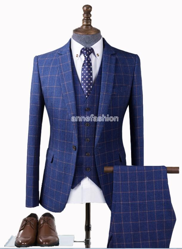 2017 new men casual suit Custom Made Men blue check pattern Classic Men Slim Fit plaid Wedding Suit 3PCS