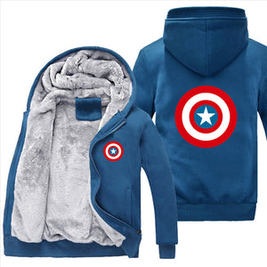 2018 Fashion Captain America Hoodies Men Warm Liner Marvel Sweatshirt Men Captain America Sweatshirt Cartoon Jacket Freeshipping