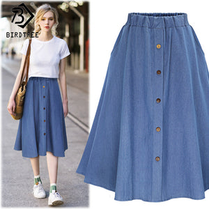 2018 Fashion Korean Preppy Style Denim Women Solid Color Long Skirt Nature Waist Female Big Hem Casual Button Jean Skirt B81811A
