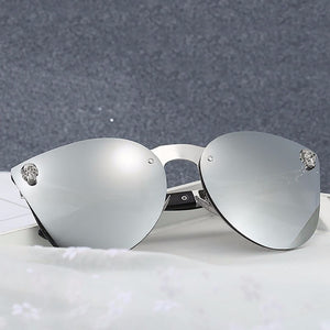 2018 Fashion Unique Skull Oversized Cat Eye Sunglasses For Women Rimmed Mirror Metallic Personality Carved Mirror Legs #253421