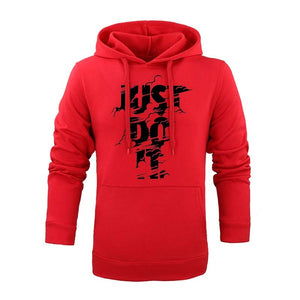 2018 Fashion funny Hoodies Long sleeves Hoody men Fashion doodle Print JUST DO IT jacket with hat men casual men