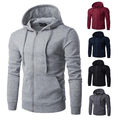 2018 Men Hoodies Jacket Autumn Winter Fleece Zipper Fitness Hooded Sweatshirt Casual Male Pocket Slim Hip Hop Pullover Moletom