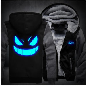 2018 Men New Fashion Hoody Sweatshirts Luminous Pokemon Go Pocket Jackets Harajuku Tracksuits Monster Gengar Cosplay Hoodies