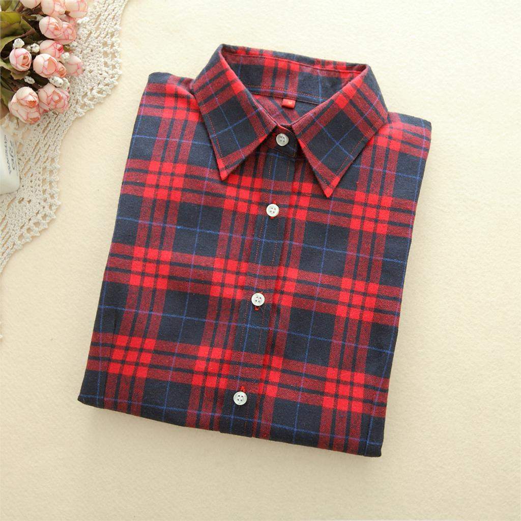 c3b00bbe626bc ... 2018 New Brand Women Blouses Long Sleeve Shirts Cotton Red and Black Flannel  Plaid Shirt Casual ...