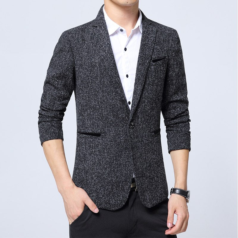 2018 New Spring Autumn thin Casual Men Blazer Cotton Slim England Suit Blaser Masculino Male Jacket Blazer Men Size S-5XL