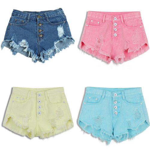 2018 New Summer Female Candy Color Hole High Waist Solid Casual Cotton Sexy Short Pants Jean Shorts Vintage Women Denim Shorts