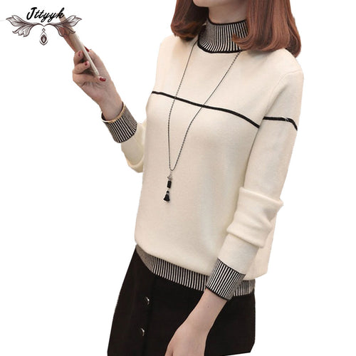 2018 Newest turtleneck winter knitted sweater Women Tops loose Large size pullover female Soft warm autumn casual jumper LJ469
