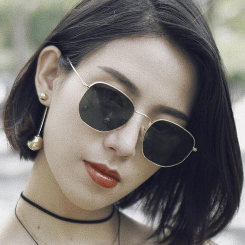 2018 Polygonal Women Sunglasses Men Glasses Lady Luxury Retro Metal Sun Glasses Vintage Mirror UV400 oculos de sol