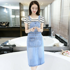 2018 Spring Summer Strap Denim Dresses Women Casual Jeans Sundresses Korean Fashion With Pocket Denim Blue Dress E682