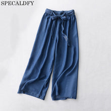 2018 Summer Casual High Waist Denim Jeans Women ELastic Waist Lace Up Loose Tencel Pants Thin Calf-Length Wide Leg Pants