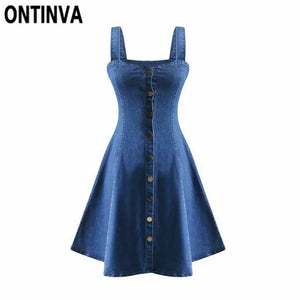 2018 Summer Denim Dress Off Shoulder Suspender Jeans Dresses Woman Single Breasted One Piece Clothing Sexy Party wear Beachwear