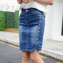 2018 Summer Pencil Denim Skirt Women Plus Size Elegant Women's Mini Skirts 2018 Buttons Slim High Waist jean Skirts For ladies
