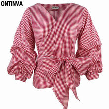 2018 Summer Puff Sleeve White Blouse with Belt Women Sexy V Neck Woman Shirt Elegant Plaid Tops Formal Clothing for Office lady