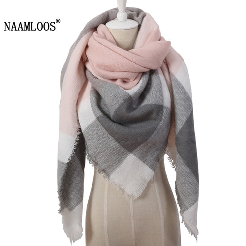 2018 Winter Triangle Scarf For Women Brand Designer Shawl Cashmere Plaid Scarves Blanket Wholesale OL082
