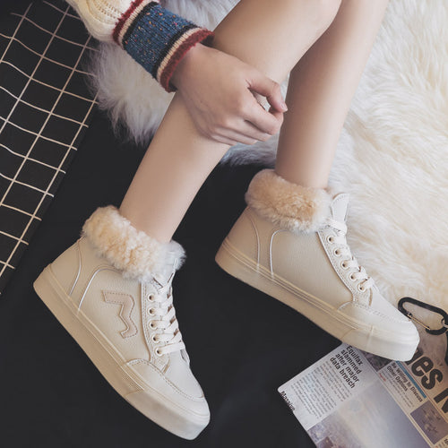 2018 Winter Women Shoes New Fashion Warm Plush High-top Shoes Woman PU Leather Casual Shoes White Sneakers