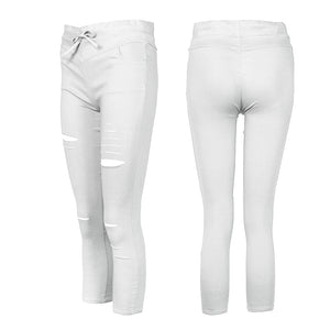 2018 Women Casual Denim Skinny Cut Pencil Pants High Waist Stretch Imitation jeans Trousers Elasticity Drawstring Slim Leggings