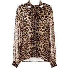 2018 Women Leopard Shirt Chiffon Blusas Tops Elegant Ladies Formal Office Blouse Plus Size shirt long sleeved shirts S-4XL