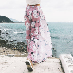 2018 Women Pants Beach Floral Print High Waist Plus Size Loose Chiffon Casual Wide Leg Pants Pink Split Sexy Women Trousers Sale