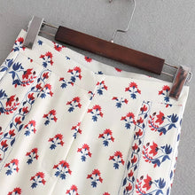 2018 Women Vintage position Flower floral vestidos Printing Loose Wide leg retro chic Trousers Leisure Zipper Fly Pants P054