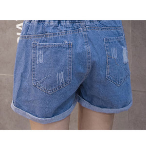 2018 Women's Casual High Waist Denim Shorts Women Loose Jeans Shorts Elastic Waist Drawstring Crimping Holes Shorts Plus Size