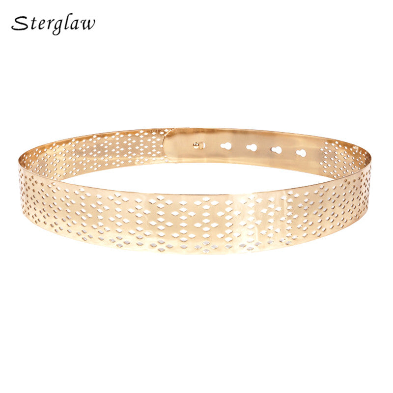 2018 designer belts women high quality luxury brand wide belts for Women's hollow glod all metal modeling belt woman J040