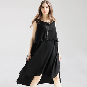 2018 hot Summer plus size Striped O-Neck women's Chiffon dress for women female Women's clothing Sleeveless big size