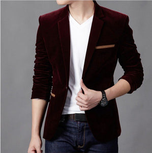 2018 men's Jacket brand clothing casual coat blazer men Slim fit Jacket men corduroy Wedding dress plus size Single Button suit