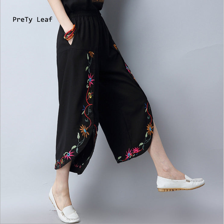 2018 new national wind cotton plus nine pants high waist embroidered pants female