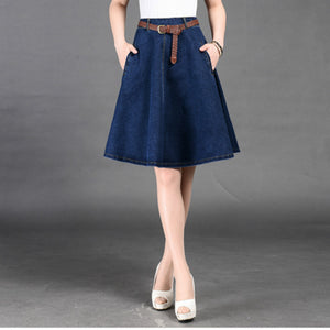 2018 new spring and summer Fashion casual plus size cotton solid blue jeans female girls skirts clothes 79075