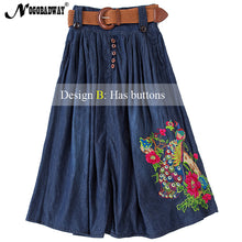 2018 summer high waist long denim skirt for women flower embroidered maxi jeans skirts ladies vintage casual saias 5XL plus size