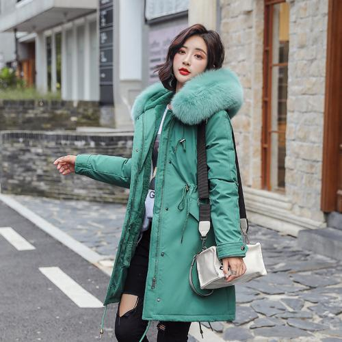 2019 Cotton Liner Warm Coat And Waterproof Jacket Women Plus Size Slim Long Coat Female Winter Big Fur Hooded Parka Mujer Coats