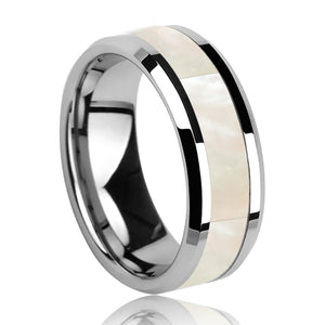 2019 New Fashion Wedding Rings 8mm Tungsten Carbide Rings with White Mother of Pearl Inlay for Man Woman Size 6-11