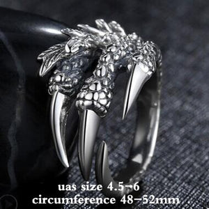2019 Personalized Punk Rock Rings 925 Silver Men Biker Ring Vintage Gothic Jewelry Resizable Dragon Claw Ring for Men Women Gift