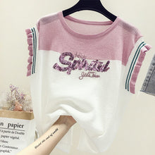 2019 Summer New Sweet Elegant Women T-shirt Letter Sequins Ice Silk Knitted Top Girl Casual Loose Slim High Quality Tshirts Y447