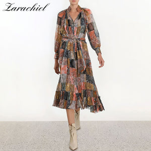 2019 Summer Runway Dress Women Golden Button Vintage Plaid Multicolor Print Stand Collar Sashes Dress Sexy Ruffles Pleated Dress