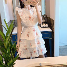 2019 Summer Women Backless Bow Mini Cake beach Dress Flowers Print Sleeveless Ruffles Party Dress Vestidos verano robe femme