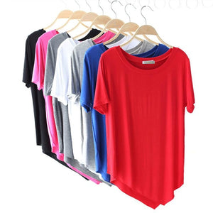 2019 brand women Irregular cotton T-shirt,big size XS-4XL 5XL 6XL Solid Basic Tshirt Woman Tops black white blue red pink Gray