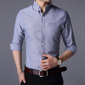 2020 Fall New Fashion Brand Designer Shirt Man Dress Shirt Long Sleeve High Quality Slim Fit Street Wear Casual Mens Clothing