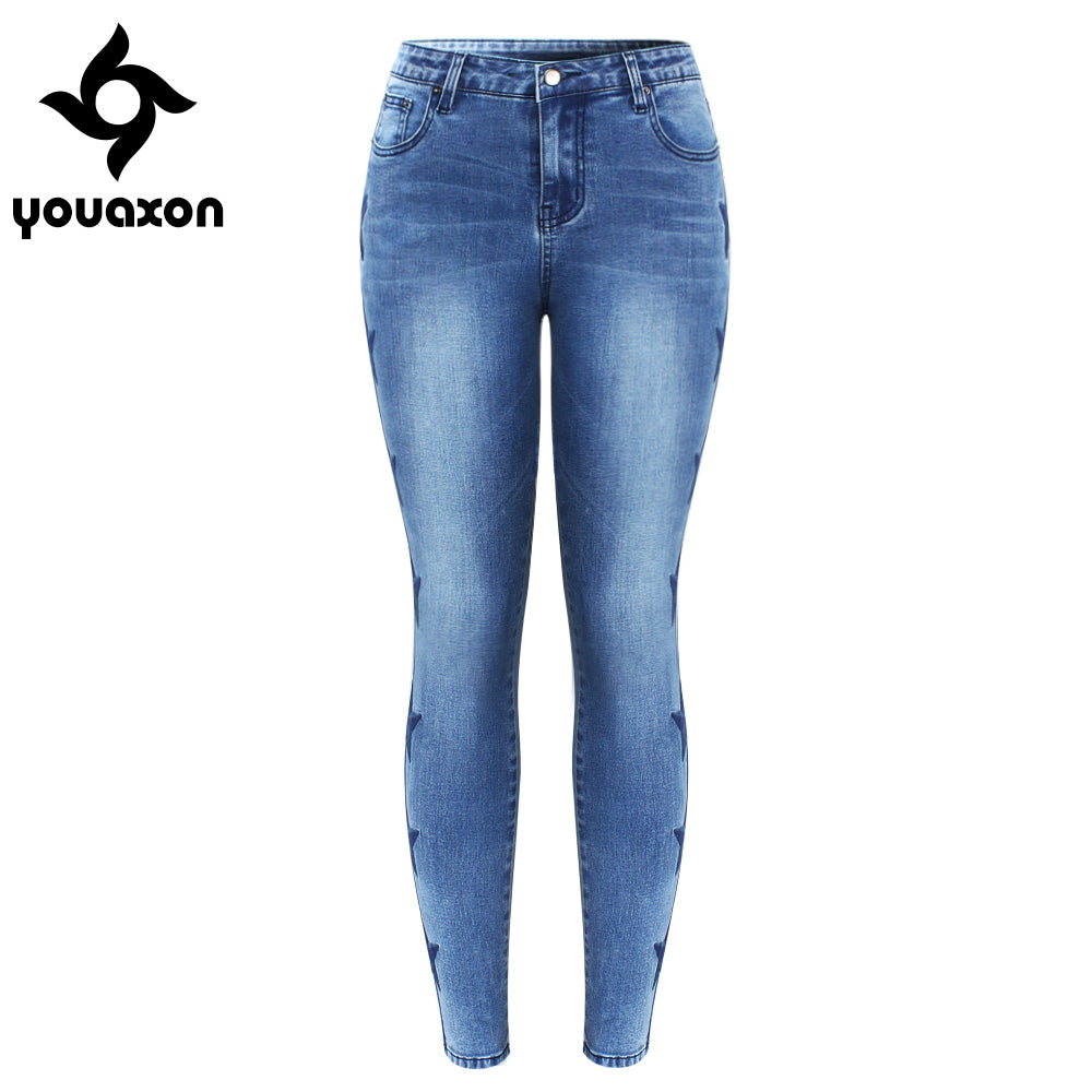 2142 Youaxon New Arrived Stars Embroidered Jeans For Women Stretchy Five Pockets Embroidery Denim Skinny Pants Trousers