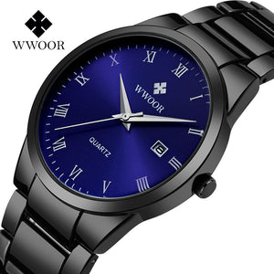 2017 New Style Brand Watch WWOOR Date Day Stainless Steel Relojes Watches Watched Dress Men Casual Quartz Watch Sport Wristwatch